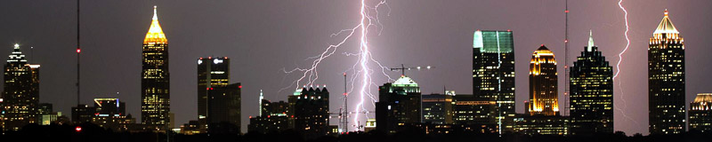 nighttime urban lightning strike