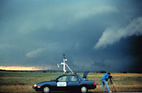 Mobile mesonet vehicle in the field during VORTEX