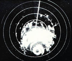 Hurricane Carla as seen by WSR-57 radar at Galveston, Texas. Arrow designates location of tornado which occurred near Kaplan, Louisiana. Monthly Weather Review, December 1962, p. 515.