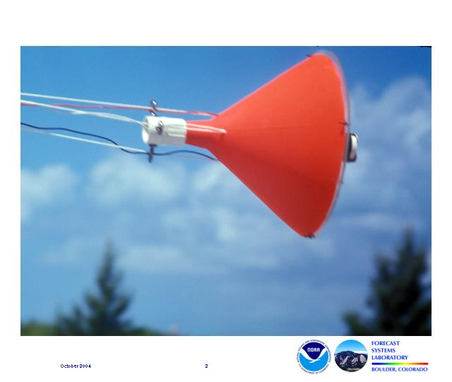 This orange cone-shaped device contained sensors that were trailed from aircraft through a waterspout in en effort to collect data.
