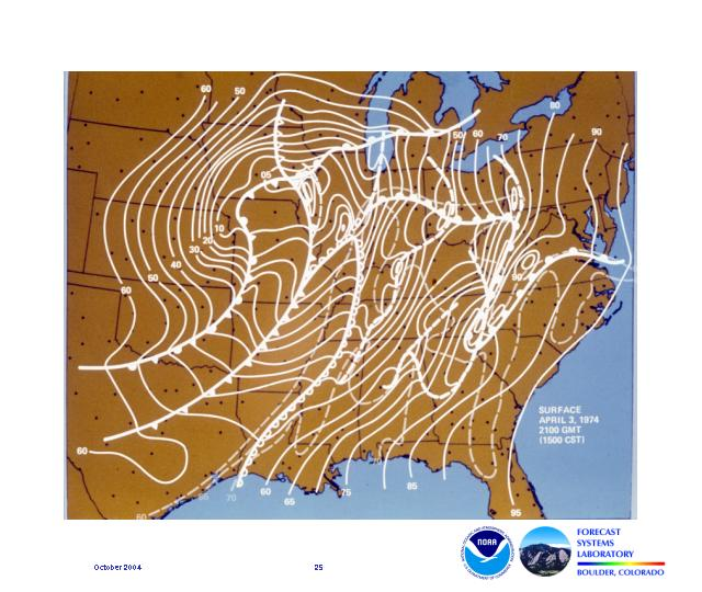 A surface map analysis shows the location of frontal boundaries and the dryline as they occurred during the Super Outbreak that affected 13 states on May 3, 1974 at 1500 CST.