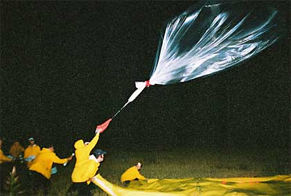 Image shows team members releasing a polyhelium balloon into the night sky during a night time balloon launch