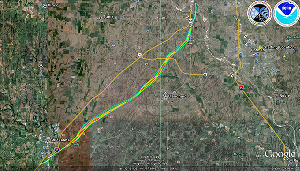 Central Oklahoma damage survey map with EF scale contours overlaid