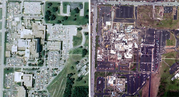 St. John's hospital in Joplin, MO, before and after