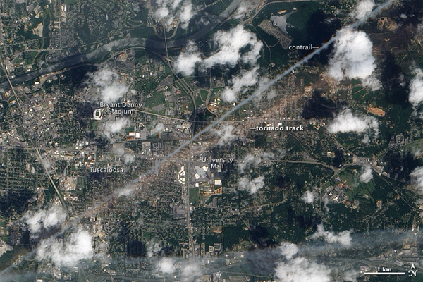 Satellite image of Tuscaloosa damage path