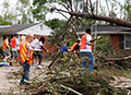 Raleigh, NC volunteers cleaning up debris