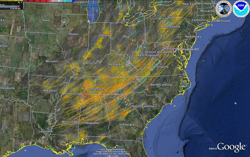 Rotation tracks map from NSSL's On-Demand system