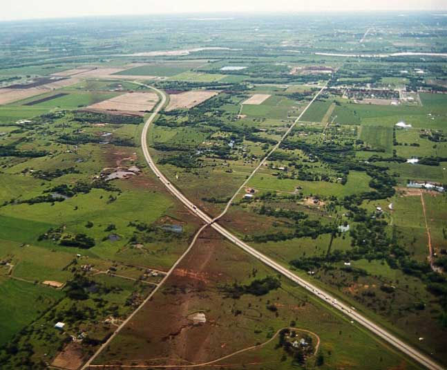 Aerial view of Newcastle/Moore/OKC tornado path
