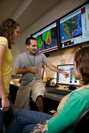 Student researchers in NSSL Development Lab