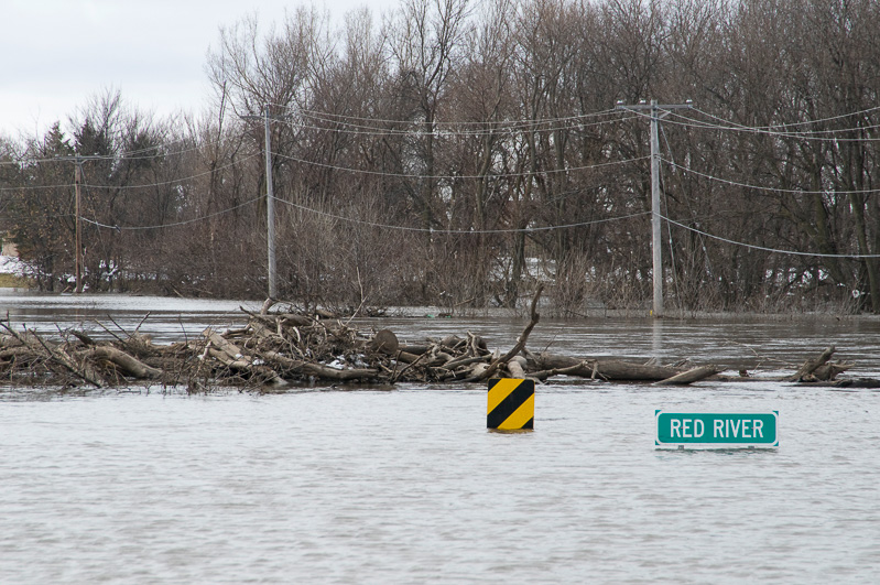 River flooding in Minnesota after heavy snowmelt in 2009