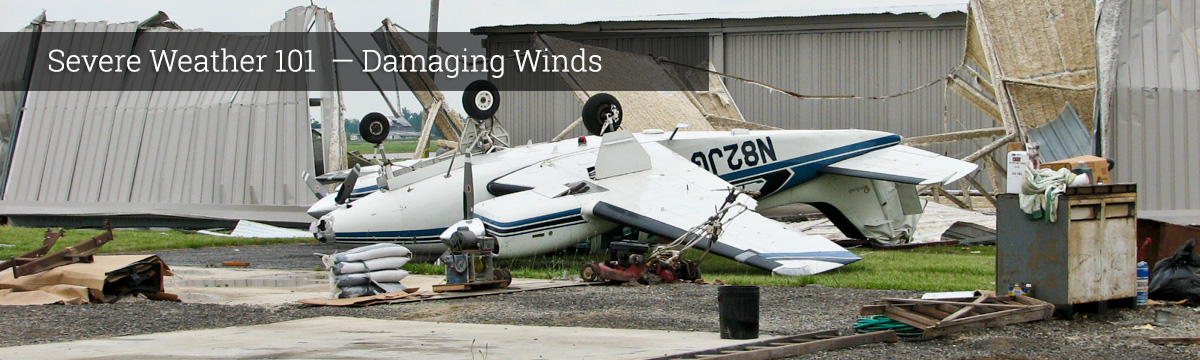 Small airplane flipped by damaging winds