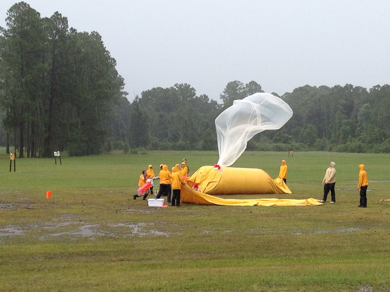 NSSL team launching instrumented weather balloon