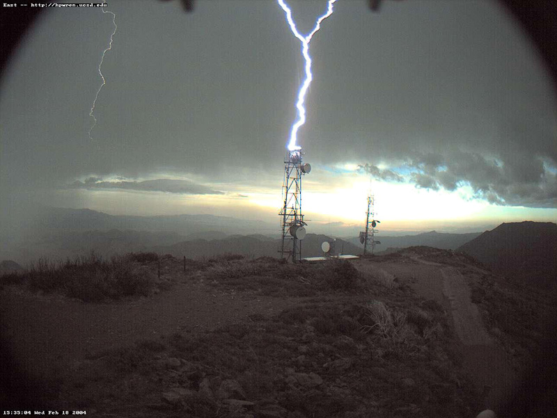 Lightning striking antenna tower