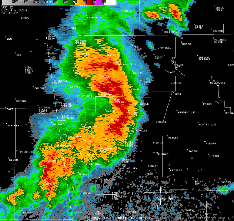 Radar display showing bow echo