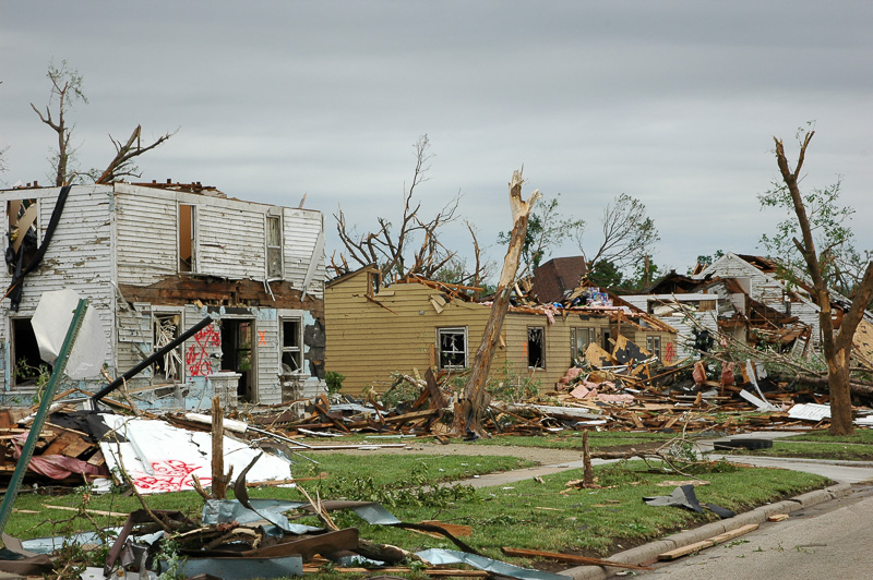 Neighborhood with many homes destroyed by a tornado