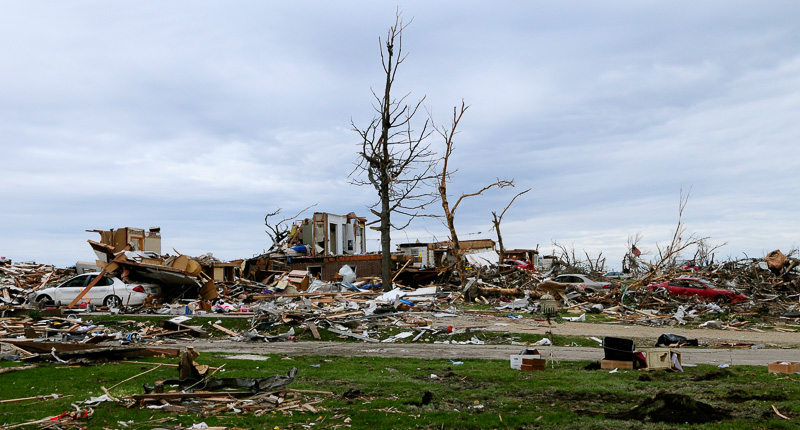 Neighborhood leveled by a tornado