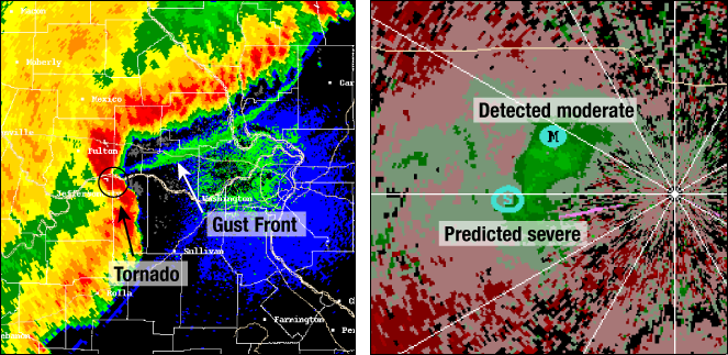 Doppler radar display showing a gust front