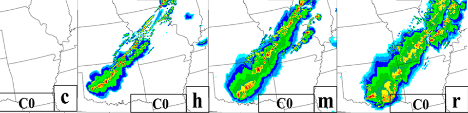 Sensitivity to radar-data assimilation: Simulated composite reflectivity