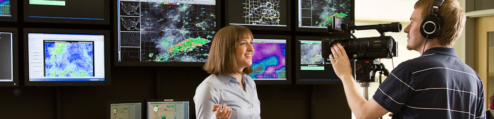 NSSL videographer working in the National Weather Center