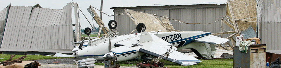 General aviation damage from straight line winds
