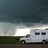 NSSL command vehicle observing Wyoming tornado, VORTEX2 2009