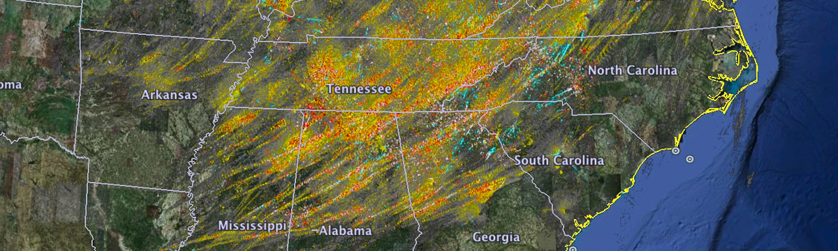 Rotation tracks for SE U.S. outbreak