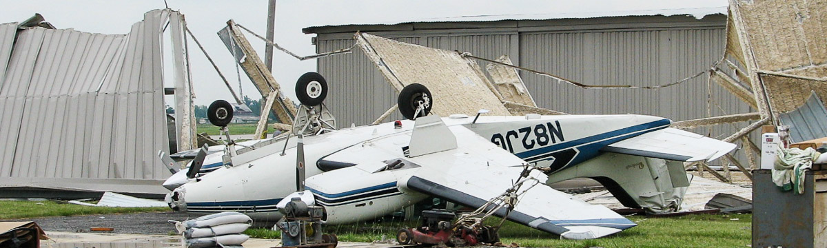 Wind damage to general aviation plane