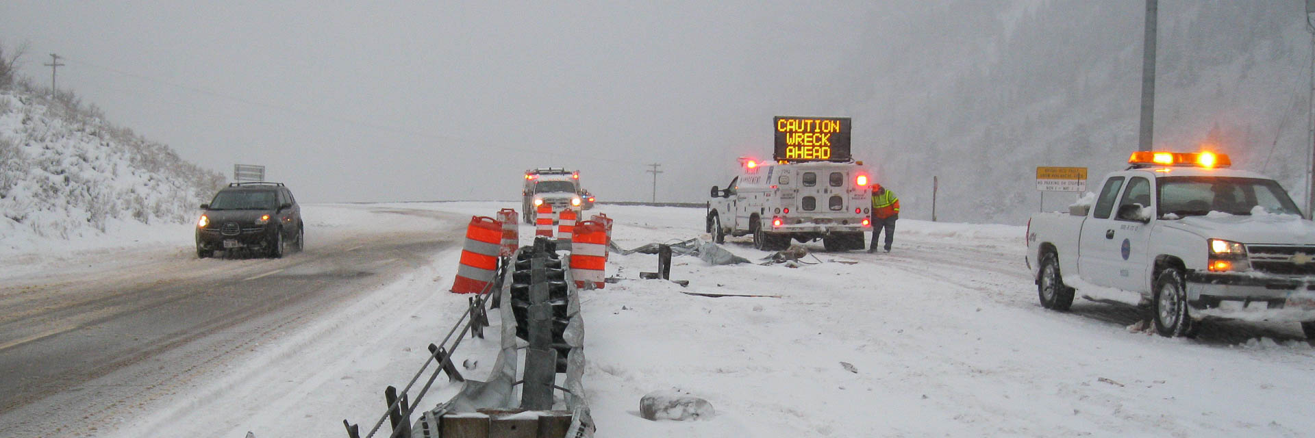 First responders clear winter weather traffic accident