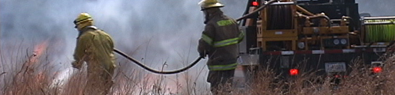 firefighters in a grass fire