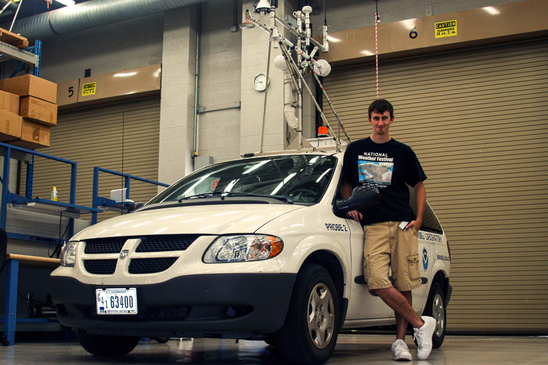 Sean Waugh with mobile mesonet vehicle