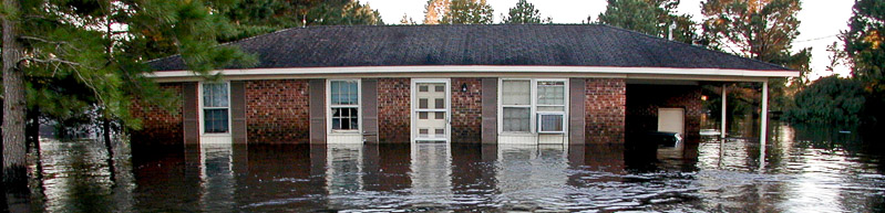 home in flood waters