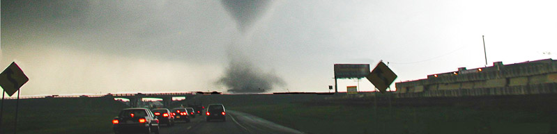tornado ahead of traffic on highway