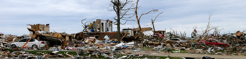neighborhood devastated by tornado