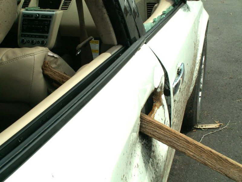 storm debris driven through car door