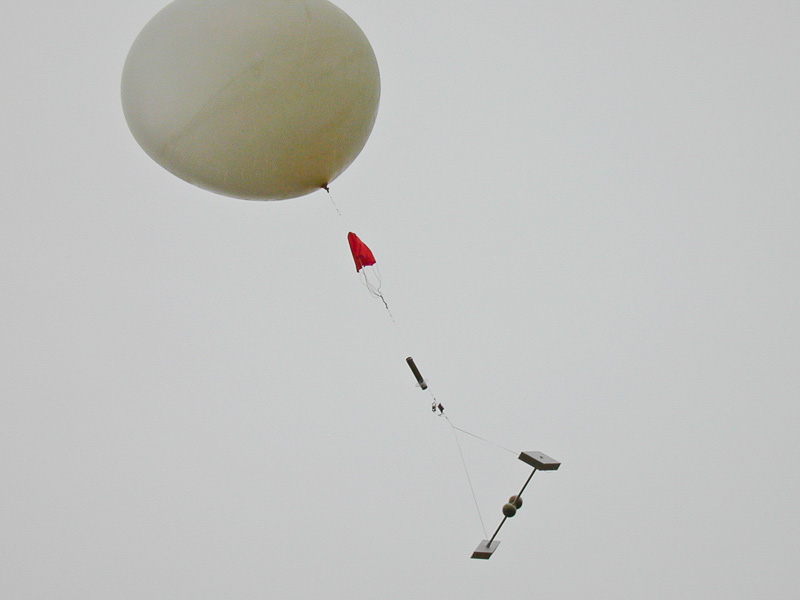weather balloon carrying instrument package
