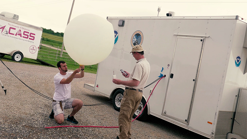 Traditional large weather balloon being launched