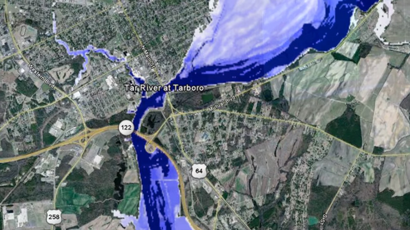Inundation map showing flood levels for the Tar River