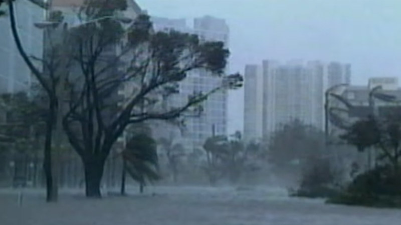 Hurricane winds and flooding