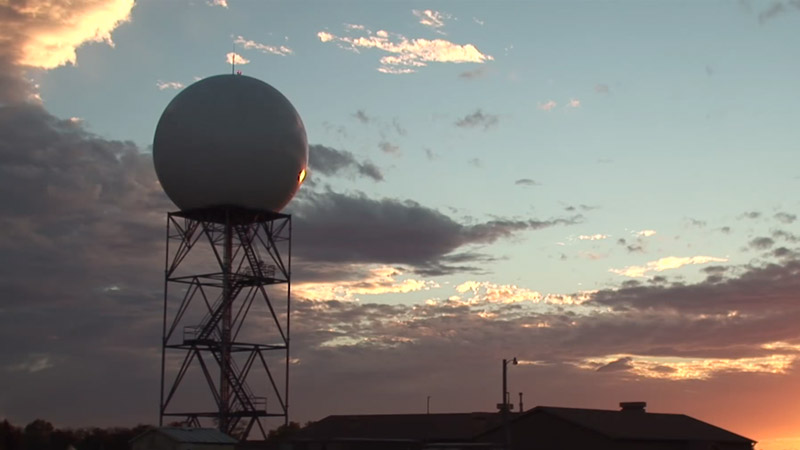 NEXRAD dome at sunset
