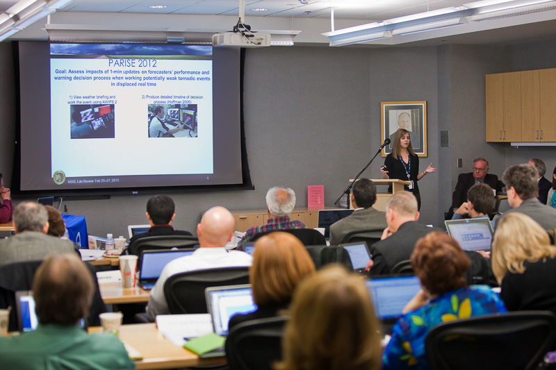 Katie Bowden presenting at the lab review