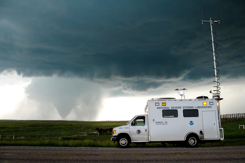 NSSL Field Command Vehicle observing tornado