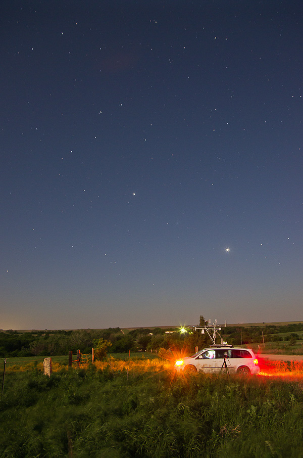 Mobile Mesonet vehicle in the field at night