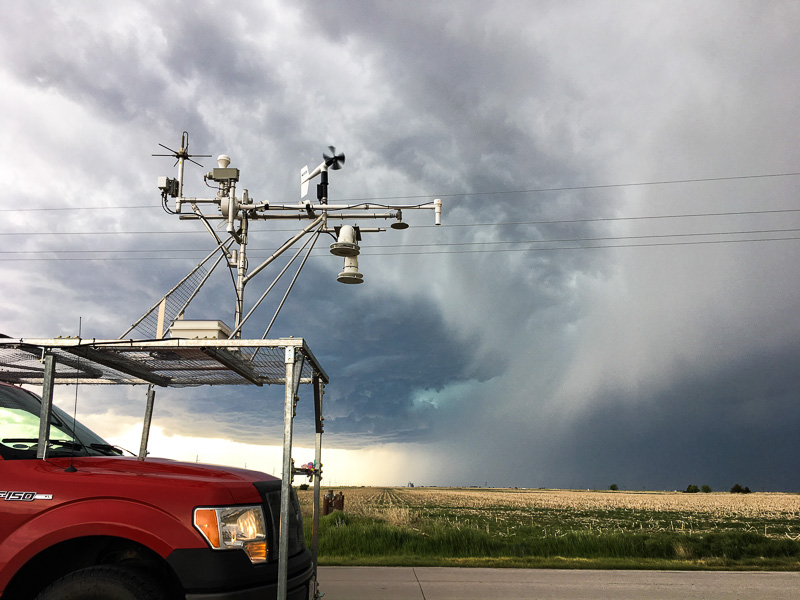 Mobile Mesonet observing equipment near supercell
