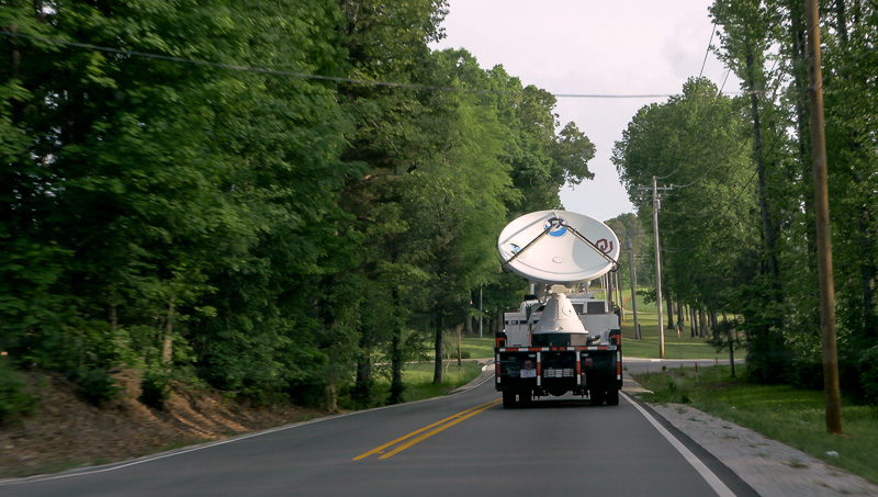 NOXP radar on the road in a wooded area