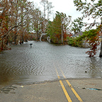 Floodwaters across road