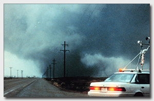 VORTEX chase vehicle near the Dimmitt tornado