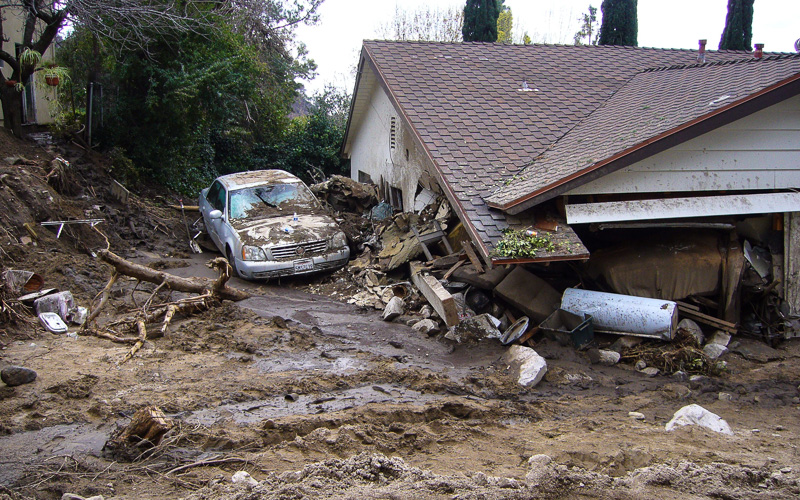 Home destroyed by mudslide