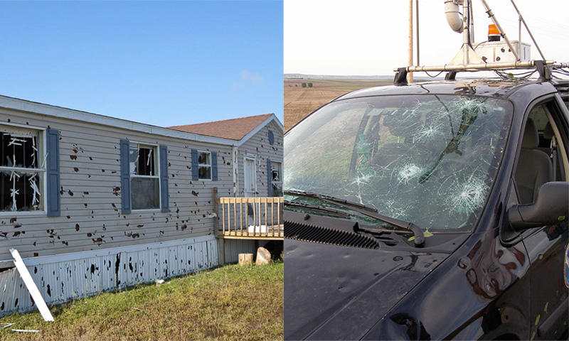 Hail damage to mobile home and vehicle