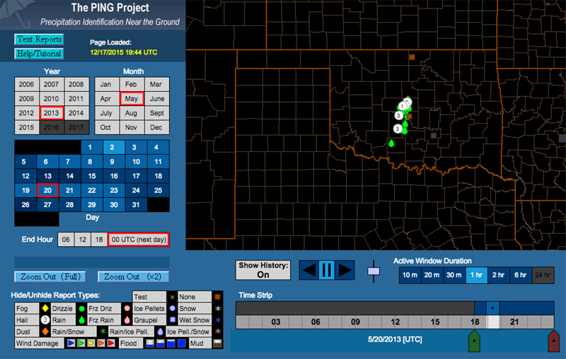 mPING hail reports display