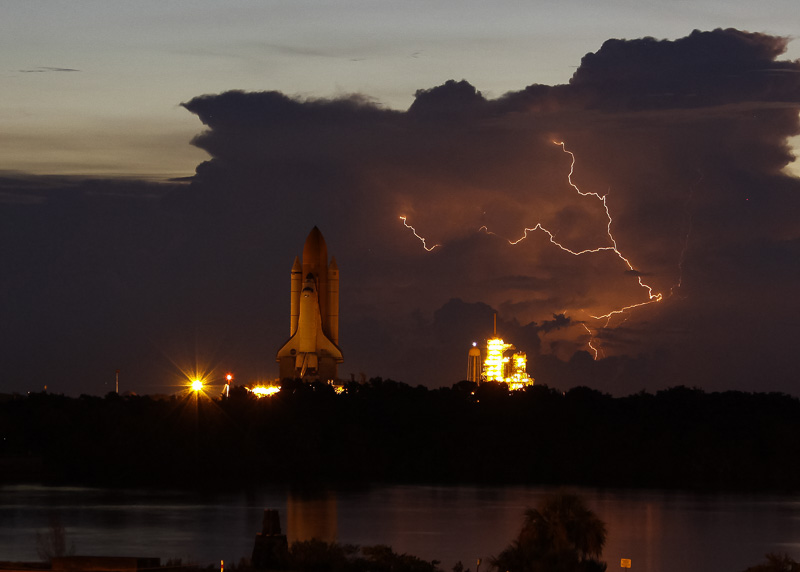 Lightning striking near launch pad